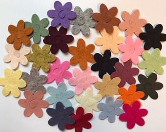 Wool Felt Daisy Flower Die Cut 30 ct. - Random Colored 3008 - Wool Felt Flower - Felt Daisy - Flower Crown - Headband Supply - Kids Crafts