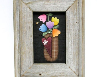 Hand Painted Tulips in a Brown Basket, Framed in Reclaimed Handcrafted Barn Wood Frame, Spring Tulips, Red Heart, Folk Art Flowers, Tulips