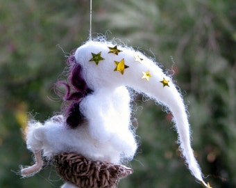 Christmas Fairy ornament Tree ornament Needle felted fairy Waldorf inspired doll White fairy with stars Home decor Angel ornamnet