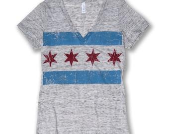 Oversized Chicago Flag Tee - Women's
