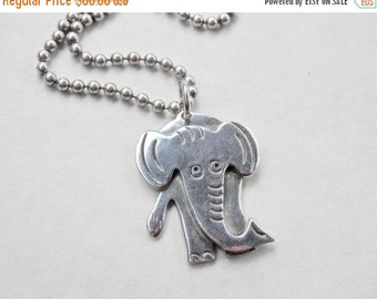"Elephant Jewelry Elephant Pendant 20 Grams Sterling Silver Ball Chain 27"" Chain Vintage Elephant Necklace Figural Jewelry 925"