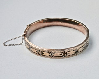 Antique 14K Gold Victorian Bangle Bracelet Enamel Taille d'Epargne 1800s Hinged Bracelet Wedding Jewelry Yellow Gold Bangle Vintage Bracelet