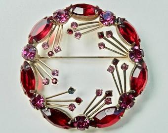Vintage Wreath Brooch Red Rhinestones Juliana Style Faux Ruby Glass Navettes Goldtone Retro Regency Antique Jewelry Vintage Jewelry