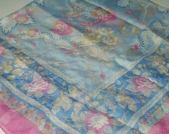 Vintage Baby Blue Pink Floral Scarf Silk Feel Made in Italy Retro Fashion Head Scarf Neck Purse Kerchief Scarf Accessory