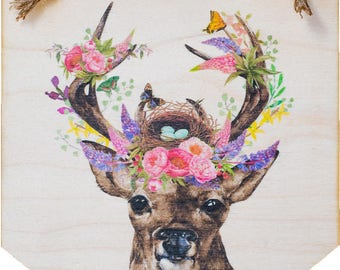 Printed Plywood Pennant | Floral Spring Stag | Gifts under 15