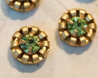 Vintage Swarovski Peridot Green 10mm Brass Cabochons (8)