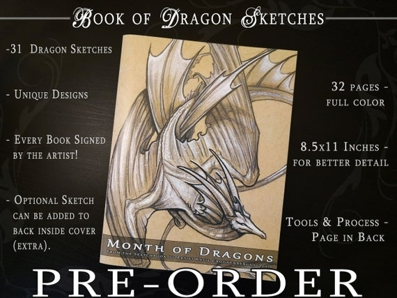PRE-ORDER ONLY | 8.5x11 32 Pg Art Book | Month of Dragons | Book of Sketches | Dragon Art Book | Book of Dragons | Ships Early December