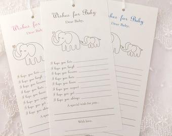 Dear Baby Elephant Wish Tree Tags Baby Shower Wishing Tree Set of 10