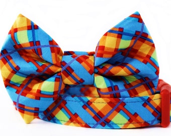 Bow Tie Dog Collar in Sky Blue, Orange, Yellow and Red