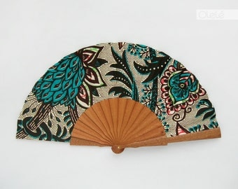 Wooden hand held fan with case - African Baroque print modern ethnic accessory by Olele - Green - hand fan eventail abanico faecher