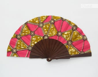 African fabric hand fan with case - Neon geometry - Kitenge hand fan - Hot pink and olive green african inspired accessory