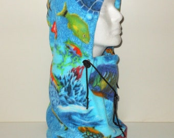 Aqua Tropical Fish/Ocean Print Adult Fleece Balaclava Hat - Ski Mask - For The After Cold Water Scuba Diving - Surface Interval - Ocean Hat