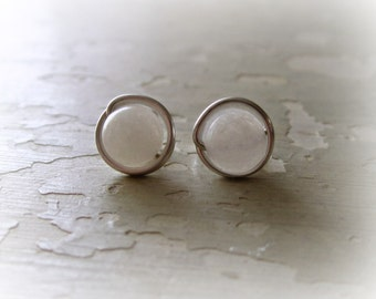 White Stud Earrings, Agate Post Earrings, Sterling Silver Studs, Wire Wrapped Earrings,Natural Stone Posts, Hypoallergenic,White Stone Studs