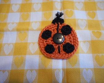 Ladybug Child's Pin , Birthday Favor Pin, Orange Ladybug Pin, Small Child's Gift Pin, Crochet Lady Bug Pin, Stocking Stuffer Small Gift