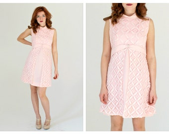 Pastel Pink 60s Babydoll Dress- S/M, Empire Waist, Waffle Lace Overlay, Rhinestone Buckle, Cute