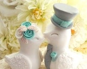Love Birds Wedding Cake Topper, White, Robin Egg Blue and Grey, Bride and Groom Keepsake, Fully Customizable