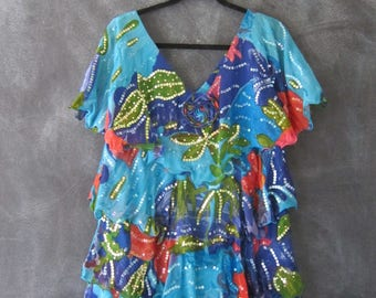 80s 90s Judith Ann Silk Ruffled Sequin Floral Tropical Turquoise Art to Wear Size S