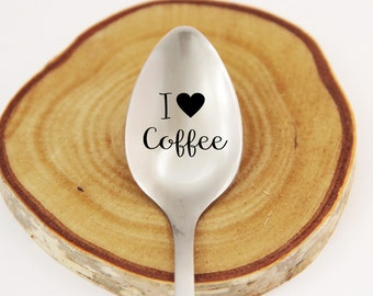 I Love Coffee, Personalized Spoon, Engraved Coffee Spoon, Personalized Silverware, Coffee Lover Gift