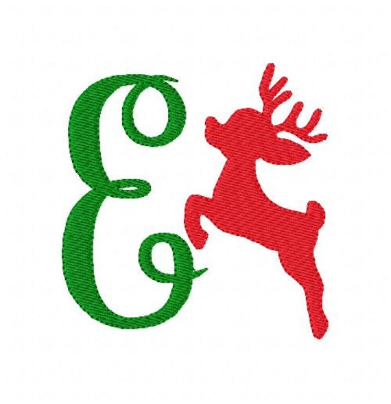 Reindeer christmas winter monogram machine embroidery font