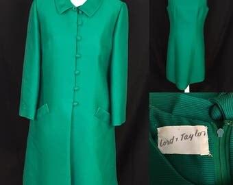 Vintage Lord & Taylor 50-60's Sz M Green Textured Sheath Dress w Matching Coat