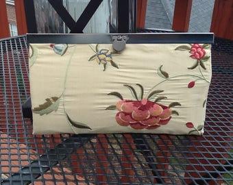 Frame Edge Bar Strip Clasp Slim Wallet Beige Silk Soft Floral Embroidered Clear ID Sleevei
