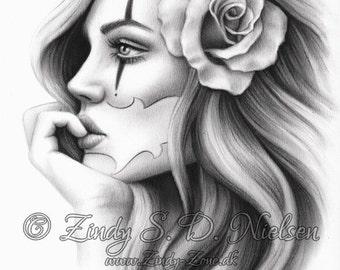 Chicano Beauty Tattoo Clown Girl Rose Art Print Glossy Emo Fantasy Girl Zindy Nielsen