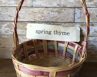 Vintage Extra Large Easter Woven Basket Sweet Large Shabby Chic