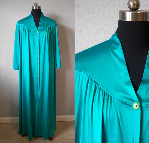 Turquoise Nightgown 70s Robe Maxi Sleep Dress Drapey House Coat Vintage 1970s Silky Large XL