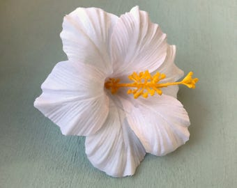 White Hibiscus Hair Flower - Pinup, Retro, Rockabilly Tropical Hair Clip - Hawaiian Flower - Tiki Hair Clip