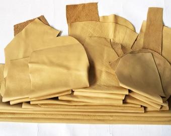 25 Scrap Leather Remnants Camel Color Italian Leather Cowhide Scraps