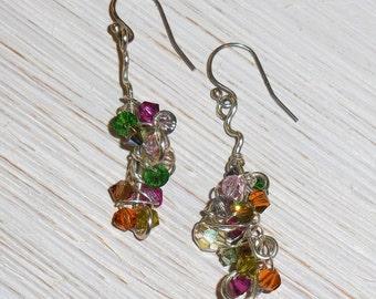 Multi Color Crystal Earrings, Purple Pink Green Earrings, Jumbled Crystal Earrings, Wildflowers Earrings