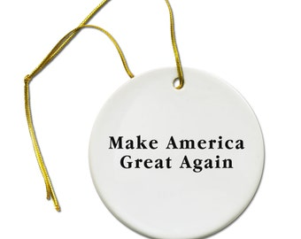 Make America Great Again Donald Trump for President Politics 2016 Hair Ceramic Hanging Ornament