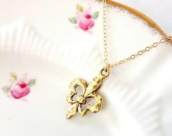 Fleur De Lis necklace Fleur De Lis jewelry NOLA New Orleans Fleur De Lis gold necklace Fleur De Lis charm necklace Fleur De Lis pendant Gift