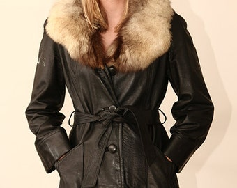 fox fur collar black leather vintage 60s jacket