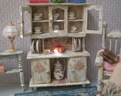 Shabby Chic Hutch Dollhouse 1:12 Scale Miniature, White & Pale Pink Beach Tea Cabinet, Unfilled