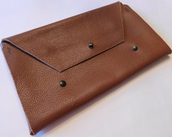 Leather Clutch Bag Envlope Clutch Minimalist Clutch Bridesmaid Gift