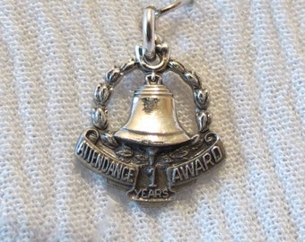 Bell Attendance Award 1 Years Sterling Silver Charm