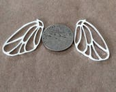 1 -Pair Large Sterling Silver Butterfly Wing Pendants, Butter fly earrings