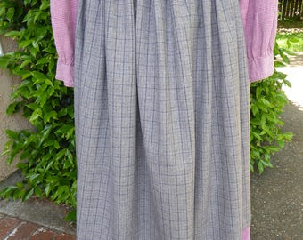 Gray and blue plaid wool apron