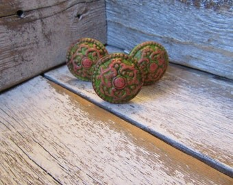 2 Green and Pink Antiqued Drawer Knobs Bohemian Hippie Traditional Cottage Farmhouse Style Pink and Green Aged Silver Knobs B-7