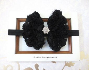 Black Baby Headband, Baby Bow Headband, Girl Hair bow, Newborn Headband, Black Baby Hair Bow, Toddler headband, infant headband