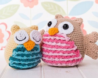 Large flappy and sleepy owl amigurumi PDF crochet pattern