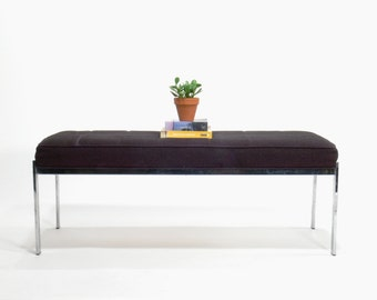 Mid Century Modern Knoll Inspired Steel Framed Museum Bench by Selig Manufacting Company