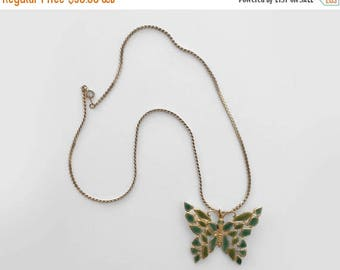 """25% OFF 70's butterfly necklace. 1970 pendant necklace. 24"""" gold. green enameled. boho."""