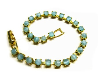 "Vintage Blue Glass Beaded Bracelet 7"" Bracelet Blue Moon Stone Glass Jewelry Gift for Her Gift Idea under 15"