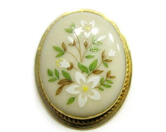 Vintage Lenox Glass Painted Enamel Flower Brooch Daisy Flowers Small Pendant Pin Gift for Her Gift for Mom under 10