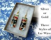 Sale! Half price Renoir earrings, Two Sisters on the Terrace, art earrings, small glass earrings, classic art jewelry, 1881