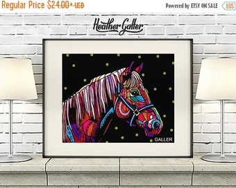 50% Off Today- Horse Art Poster Print of Painting by Heather Galler (HG517)