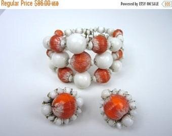On Sale 1960s Hobe Bracelet Earring Set/ Coral And White Bracelet Set/ Wrap Bracelet