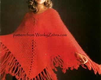 Vintage Crochet Poncho Pattern PDF 931 from WonkyZebra